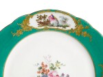 TWO VINCENNES OR EARLY SÈVRES GREEN-GROUND PLATES FROM THE FREDERIK V SERVICE, CIRCA 1755