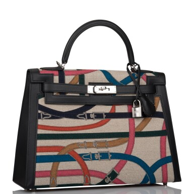 View 2. Thumbnail of Lot 48. HERMÈS | CAVALCADOUR SELLIER KELLY 32CM OF BLACK SWIFT AND TOILE DE CAMP.