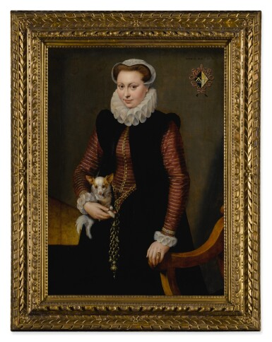 View 2. Thumbnail of Lot 19. Portrait of a young woman, aged 17, holding a small spaniel wearing a collar of bells.