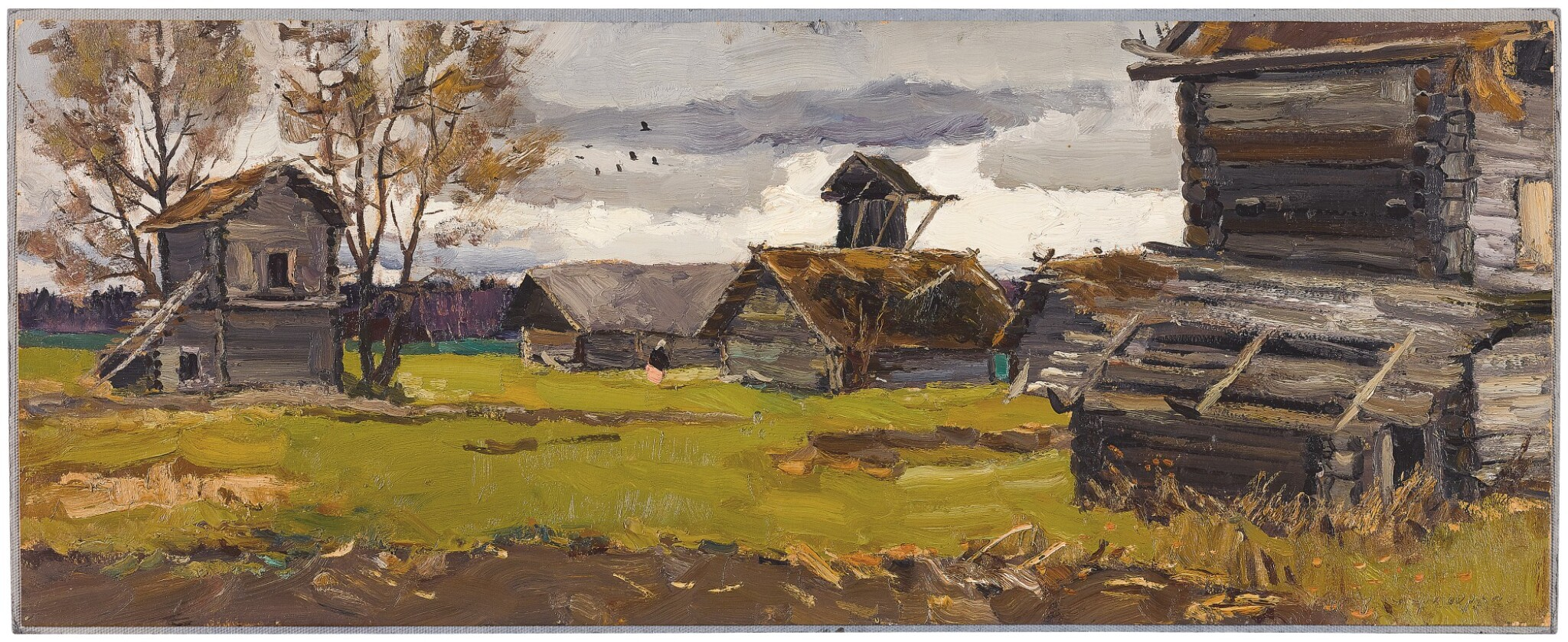 View full screen - View 1 of Lot 52. VLADIMIR FEDOROVICH STOZHAROV | GRIGORKOVO, STUDY WITH WINDMILL AND DRYING BARNS.