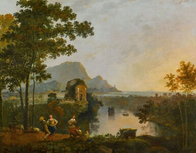 View 1. Thumbnail of Lot 200. A coastal landscape with figures dancing at the mouth of a river.