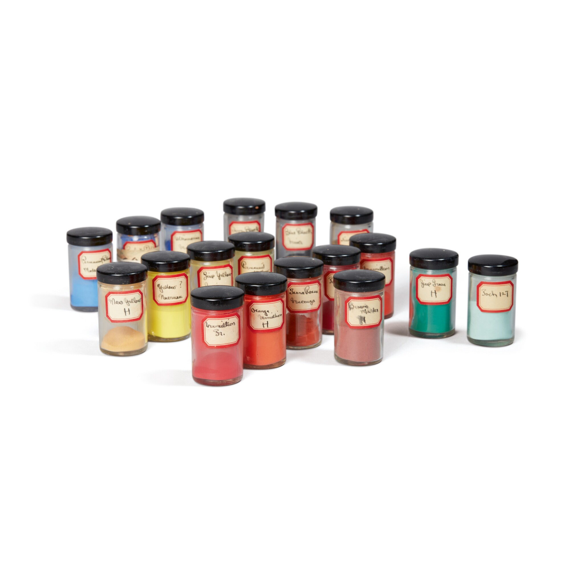 View 1 of Lot 73. GEORGIA O'KEEFFE'S PIGMENTS | A COLLECTION OF 18 JARS LABELLED AND USED BY GEORGIA O'KEEFFE.