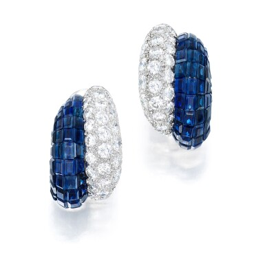 View 1. Thumbnail of Lot 77. Van Cleef & Arpels | Pair of Mystery-Set Sapphire and Diamond Earclips.