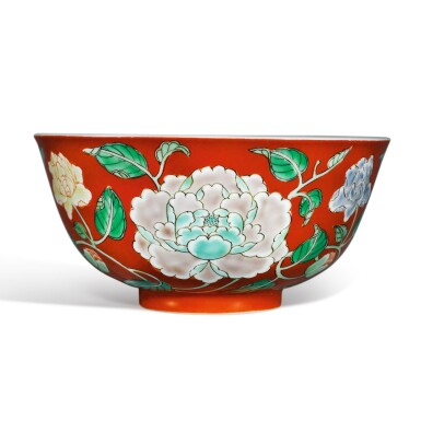 View 4. Thumbnail of Lot 137. A fine and rare coral-ground famille-verte 'peony' bowl, Yongzheng yuzhi mark and period | 清雍正 珊瑚紅地五彩牡丹紋盌  《雍正御製》款.