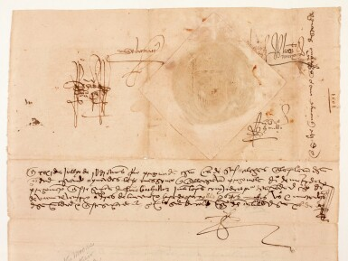 View 2. Thumbnail of Lot 45. FERDINAND AND ISABELLA, King and Queen of Spain | document signed, expelling unconverted Moors, 1501.