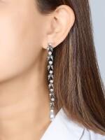 Natural Pearl and Diamond Earrings, 19th Century |  天然海水珍珠 配 鑽石 耳墜一對, 19世紀