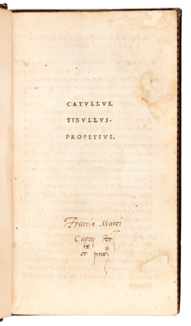 View 2. Thumbnail of Lot 87. Catullus, Opera, Venice, Aldus, 1502, morocco by Storr of Grantham, Syston Park copy.