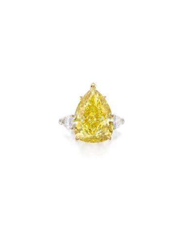 View 1. Thumbnail of Lot 1721. FANCY VIVID YELLOW DIAMOND AND DIAMOND RING   23.54卡拉 艷彩黃色鑽石 配 鑽石 戒指.