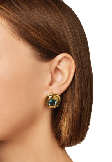View 4. Thumbnail of Lot 23. PAIR OF GOLD AND AQUAMARINE EARCLIPS, PALOMA PICASSO FOR TIFFANY & CO..