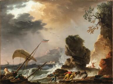 View 2. Thumbnail of Lot 47. Fishermen at Sunrise;  A Storm.