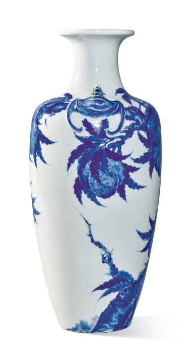 View 3. Thumbnail of Lot 1139. A BLUE AND WHITE 'PEACH' VASE, 19TH / 20TH CENTURY.