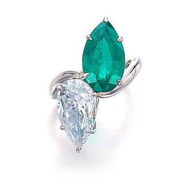 View 1. Thumbnail of Lot 201. HARRY WINSTON [海瑞溫斯頓] | EMERALD AND DIAMOND RING, CIRCA 1970 [祖母綠配鑽石戒指,約1970年].