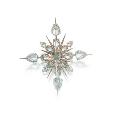 View 2. Thumbnail of Lot 339. Tony Duquette | Aquamarine and Diamond 'Star' Brooch.