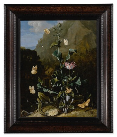 View 2. Thumbnail of Lot 525. Still life of a thistle and other flowers surrounded by moths, a dragonfly, a lizard and a snake, in a landscape.