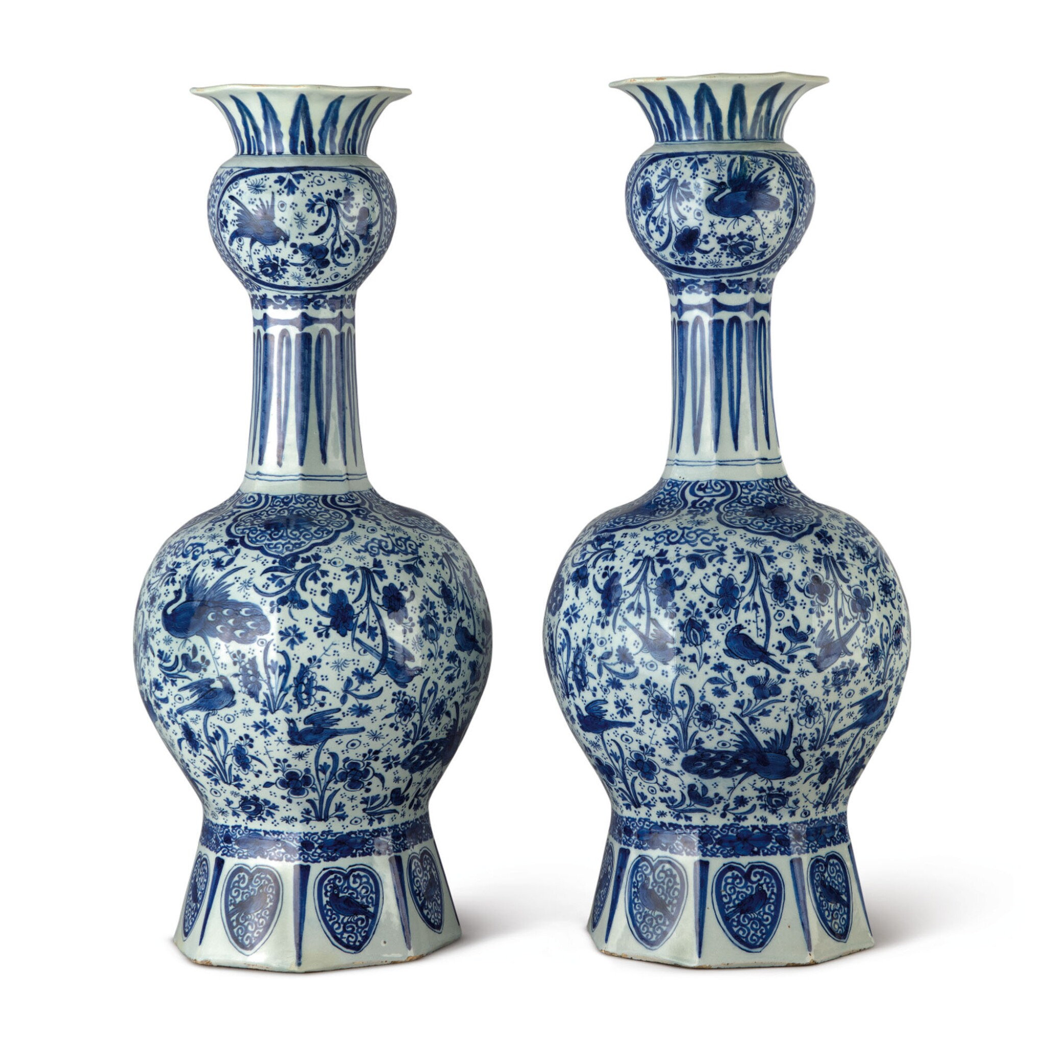 View 1 of Lot 512. A PAIR OF DUTCH DELFT BLUE AND WHITE LARGE VASES, CIRCA 1700.