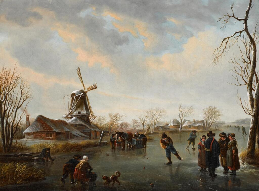 ANDRIES VERMEULEN | Figures skating on a frozen river by a windmill