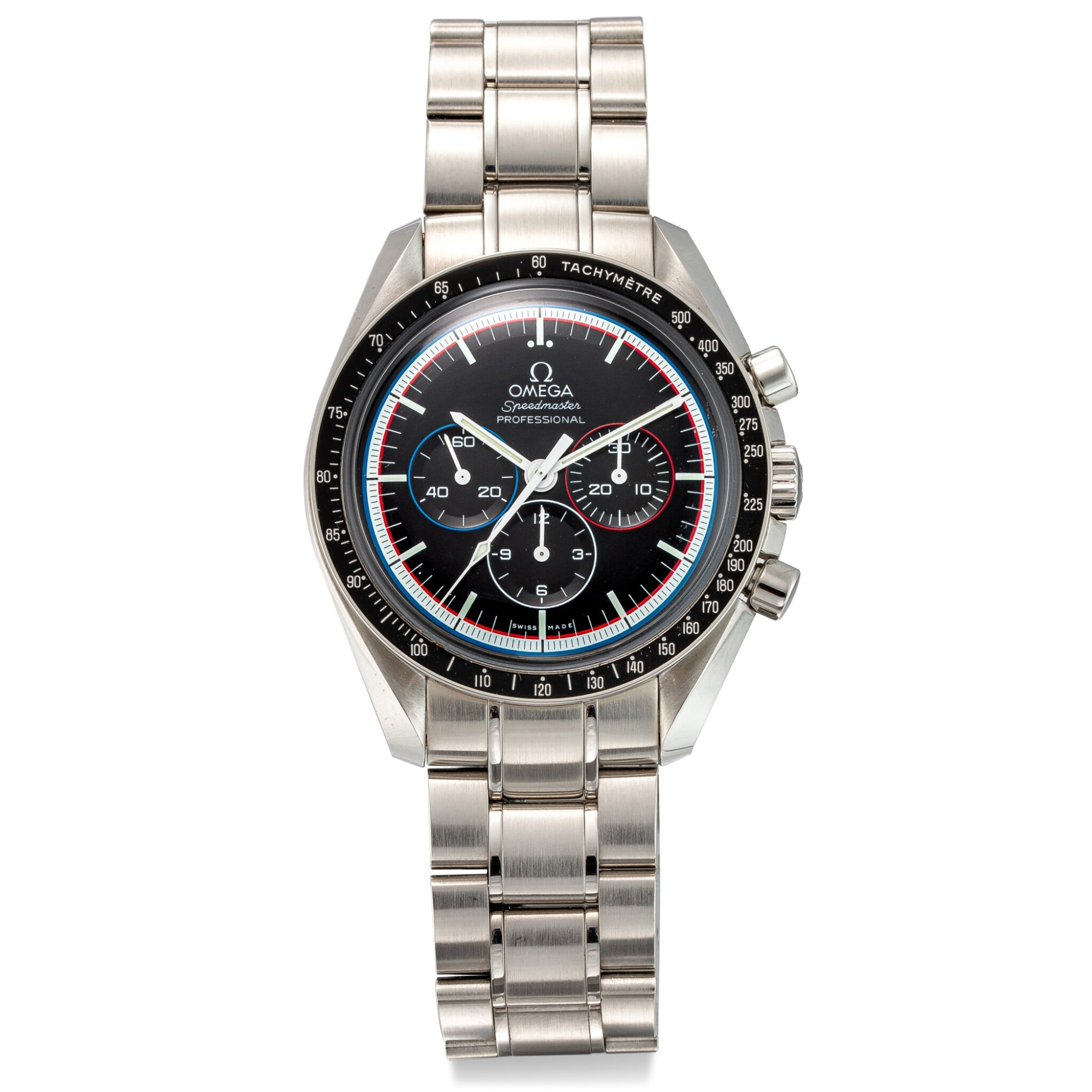 """View full screen - View 1 of Lot 8102. OMEGA   SPEEDMASTER PROFESSIONAL MOONWATCH, REFERENCE 311.30.42.30.01.003   A LIMITED EDITION STAINLESS STEEL CHRONOGRAPH WRISTWATCH WITH BRACELET, MADE TO COMMEMORATE THE 40TH ANNIVERSARY OF """"APOLLO 15"""" MISSION, CIRCA 2011   歐米茄   超霸系列專業月球錶 型號311.30.42.30.01.003   限量版精鋼計時鏈帶腕錶,為紀念阿波羅15任務40週年而製,約2011年製."""