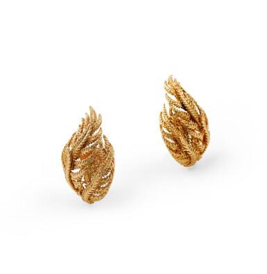 View 3. Thumbnail of Lot 62. David Webb, pair of gold ear clips [Paire de clips d'oreille en or].