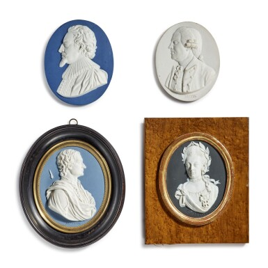 THREE WEDGWOOD AND BENTLEY PORTRAIT MEDALLIONS AND A WEDGWOOD PORTRAIT MEDALLION CIRCA 1779-90