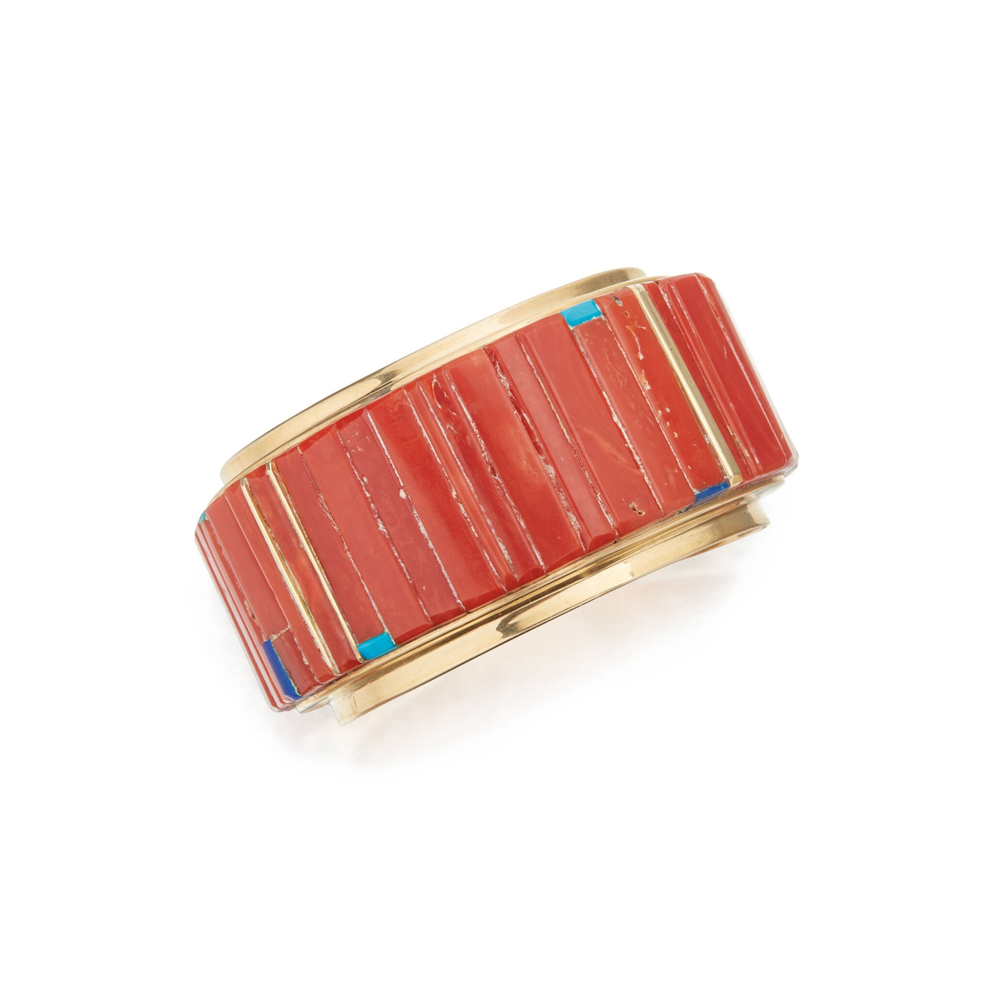 View 1 of Lot 131. CORAL, LAPIS LAZULI AND TURQUOISE CUFF-BRACELET, CHARLES LOLOMA.