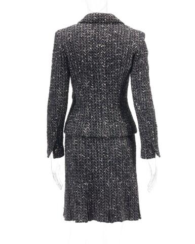View 2. Thumbnail of Lot 124. Black and white wool ensemble.