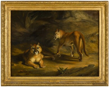 View 3. Thumbnail of Lot 61. WILLIAM HUGGINS  |  TWO PUMAS IN A LANDSCAPE.