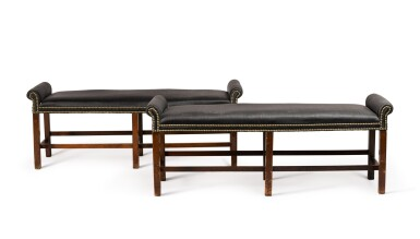 View 1. Thumbnail of Lot 82. A pair of George III mahogany two-seat benches, circa 1800.