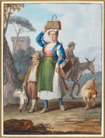 A pair of Neapolitan genre scenes: A woman carrying baskets of eggs and a Waterseller