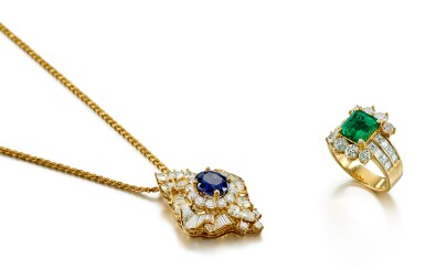View 2. Thumbnail of Lot 9189.  EMERALD AND DIAMOND RING; AND SAPPHIRE AND DIAMOND PENDENT NECKLACE   祖母綠 配 鑽石 戒指; 及 藍寶石 配 鑽石 項鏈.