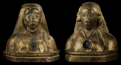 CENTRAL OR SOUTHERN ITALIAN, 13TH/15TH CENTURY   PAIR OF RELIQUARY BUSTS OF MARTYRED FEMALE SAINTS