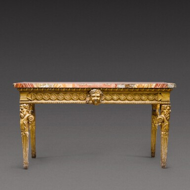 View 3. Thumbnail of Lot 174. An Italian Neoclassical carved giltwood console table, Rome, circa 1780.