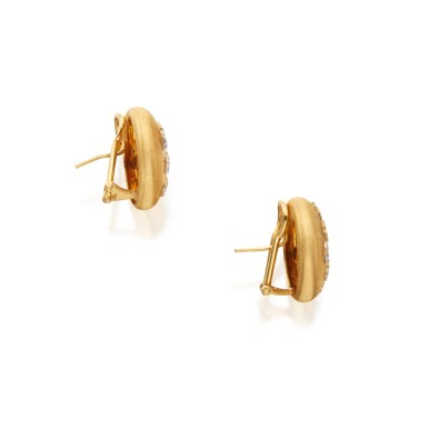 View 2. Thumbnail of Lot 335. Pair of Gold and Diamond Earclips.