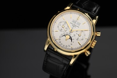 View 8. Thumbnail of Lot 30. PATEK PHILIPPE | REFERENCE 3970E  A YELLOW GOLD PERPETUAL CALENDAR CHRONOGRAPH WRISTWATCH WITH MOON PHASES AND LEAP YEAR INDICATION, MADE IN 1992.