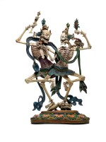 A rare polychrome wood figure of Chitipati Qing dynasty, 18th century | 清十八世紀 木雕彩繪屍陀林像