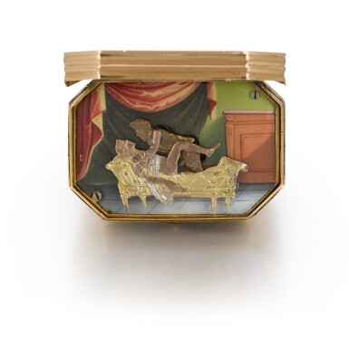 View 2. Thumbnail of Lot 301. SWISS | A GOLD AND ENAMEL MUSICAL SEAL WITH EROTIC AUTOMATON, CIRCA 1820.