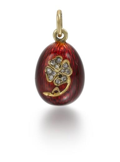 View 1. Thumbnail of Lot 15. A Fabergé jewelled gold and guilloché enamel egg pendant, Michael Perchin, St Petersburg, 1899-1903.