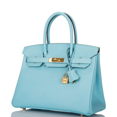 View 5. Thumbnail of Lot 18. Hermès Bleu Atoll Birkin 30cm of Epsom Leather with Gold Hardware .