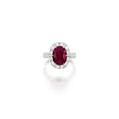 View 1. Thumbnail of Lot 1689. RUBY AND DIAMOND RING   4.51卡拉 天然 「緬甸」紅寶石 配 鑽石 戒指.