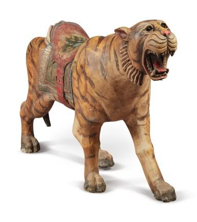 View 4. Thumbnail of Lot 163. Rare Carved and Polychrome Paint-Decorated Pine Carousel Tiger, Philadelphia Toboggan Company, Philadelphia, Pennsylvania, circa 1905.