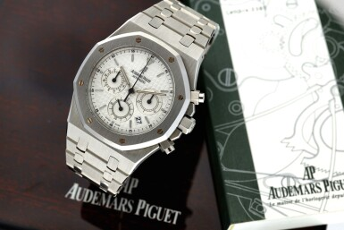 View 7. Thumbnail of Lot 12. REFERENCE 25860ST.OO.110ST.05 ROYAL OAK A STAINLESS STEEL AUTOMATIC CHRONOGRAPH BRACELET WRISTWATCH WITH DATE AND BRACELET, DONATED AND SIGNED BY GEORGE H.W. BUSH TO A SAVE THE CHILDREN CHARITY IN 2007.