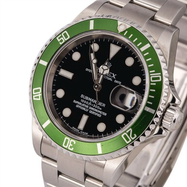 "ROLEX | Submariner, Ref. 16610LV, A Stainless Steel Wristwatch with ""Flat 4"" Bezel and Bracelet, Circa 2004"
