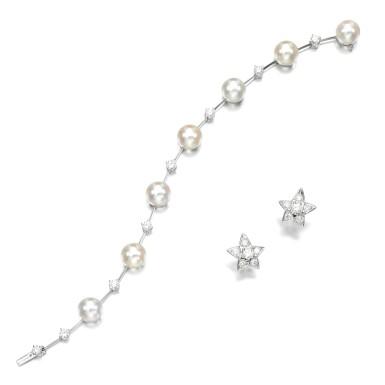 View 2. Thumbnail of Lot 106. Diamond earrings || Cultured pearl and diamond bracelet.
