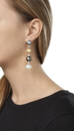 CULTURED PEARL, MULTI-COLORED SAPPHIRE AND DIAMOND NECKLACE AND PAIR OF EARCLIPS