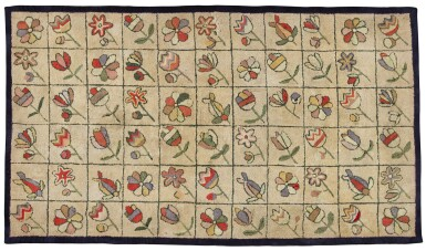 View 1. Thumbnail of Lot 1521. CANADIAN POLYCHROME SCATTERED FLOWER DECORATED HOOKED RUG, FOUND IN NOVA SCOTIA, EARLY 20TH CENTURY.