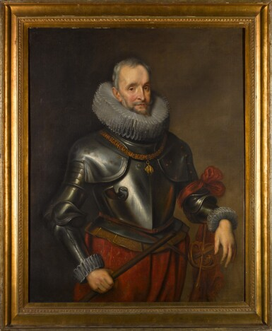 View 2. Thumbnail of Lot 133. Portrait of Ambrogio Spinola, 1st Marquess of Los Balbases (1569-1630), three-quarter length, wearing a breastplate and the collar and badge of the Order of the Golden Fleece, a Field Marshal's baton in his right hand.