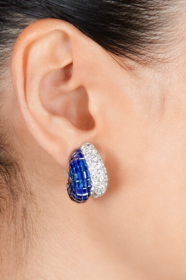 View 2. Thumbnail of Lot 77. Van Cleef & Arpels | Pair of Mystery-Set Sapphire and Diamond Earclips.