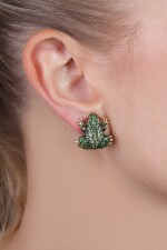 Pair of tsavorite garnet and ruby ear clips, 'Frogs', Michele della Valle