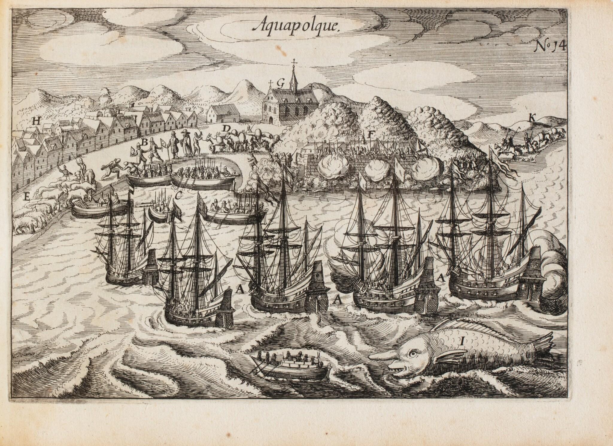 View full screen - View 1 of Lot 199. SPILBERGEN. Speculum orientalis occidentalisque Indiae navigationum. Leyde, 1619. In-8 oblong. Vélin de l'ep..