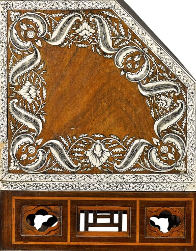 View 8. Thumbnail of Lot 246. An Anglo-Indian rosewood and ivory inlaid table bureau on a mahogany and fruitwood stand by Thomas Chippendale, the bureau, Vizagapatam, circa 1740-50, the stand, London, 1767.