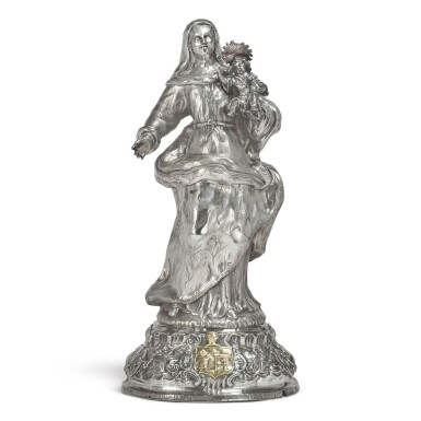 A SPANISH SILVER FIGURE OF THE VIRGIN AND CHILD, JUAN ALTET, BARCELONA, DATED 1774